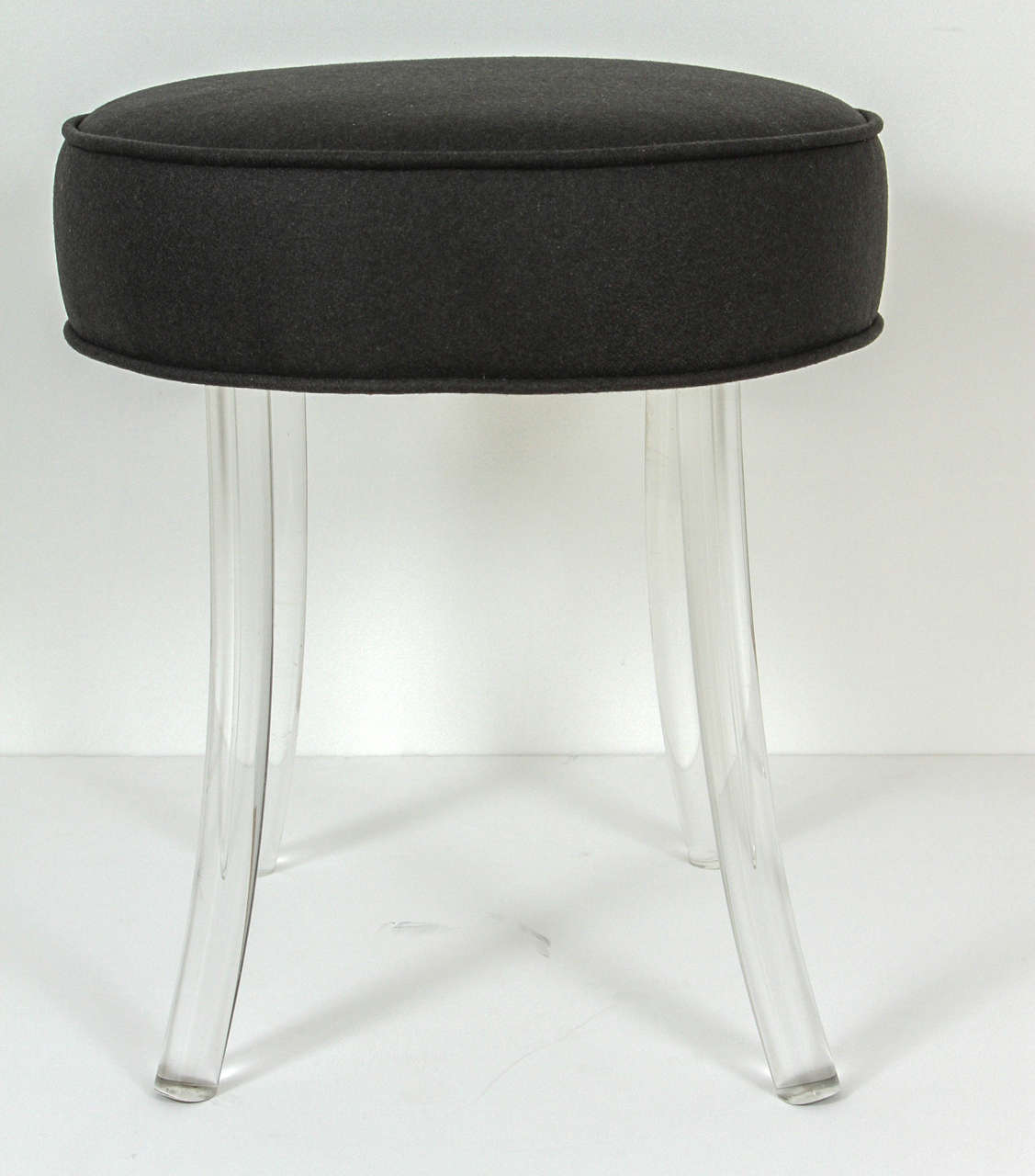 upholstered william haines vanity stool with lucite legs at stdibs - upholstered william haines vanity stool with lucite legs