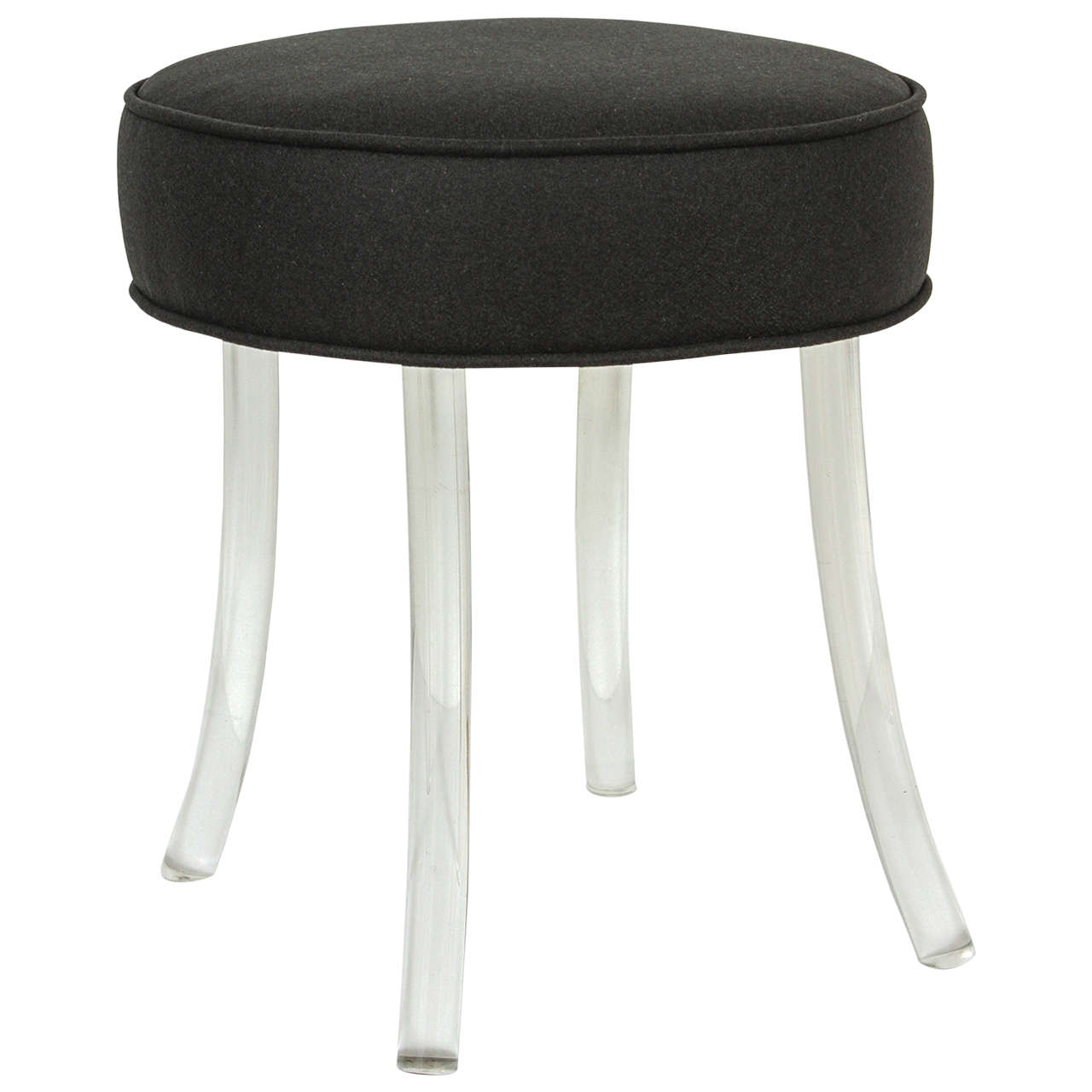 Upholstered william haines vanity stool with lucite legs at 1stdibs