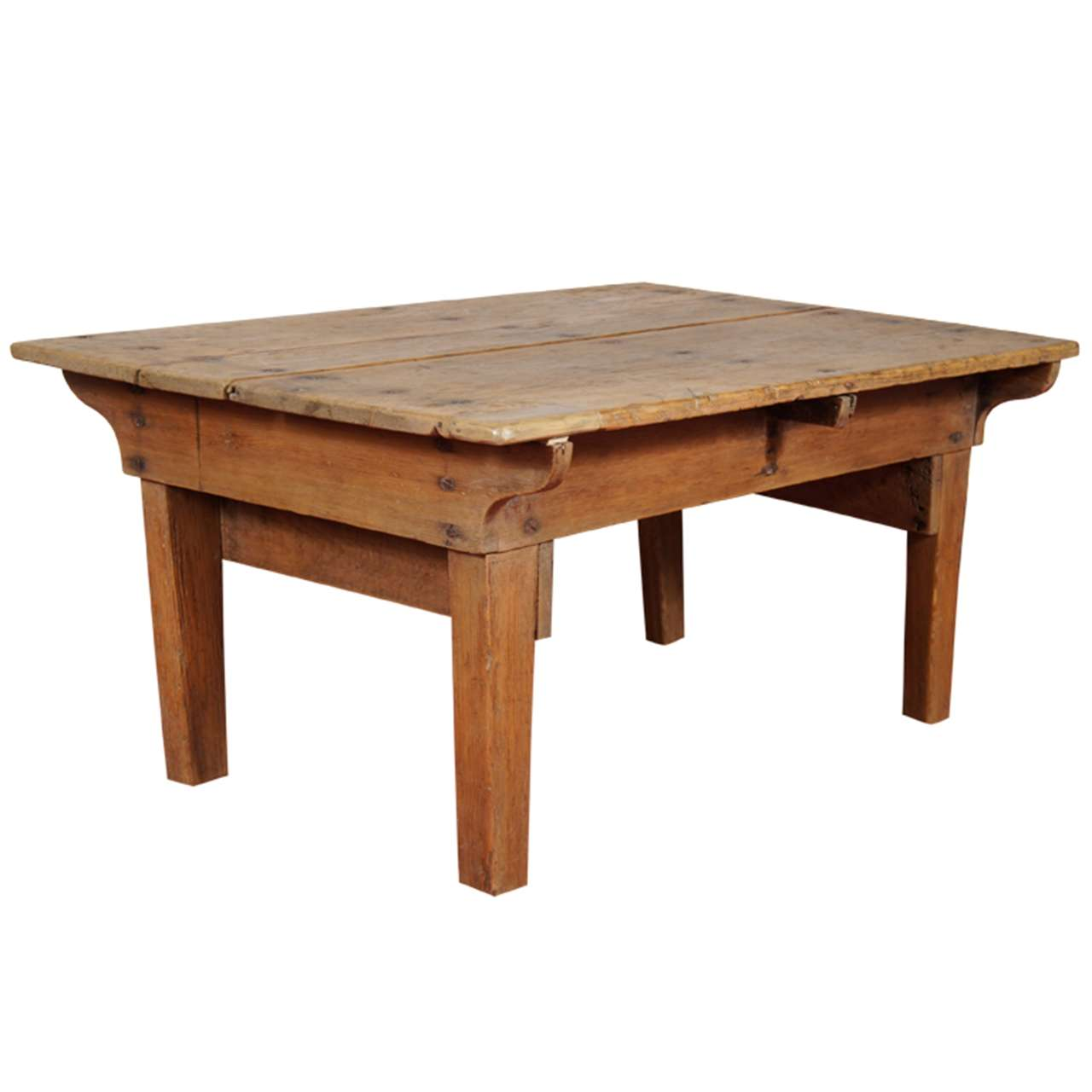 Rustic french country pine coffee table at 1stdibs for Pine coffee table