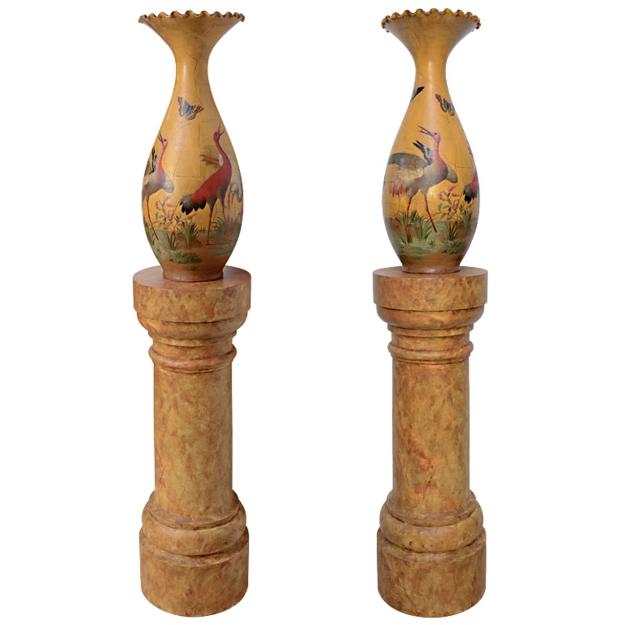 Fine Pair of Glazed Terra Cotta Urns on Stands, France 19th Century