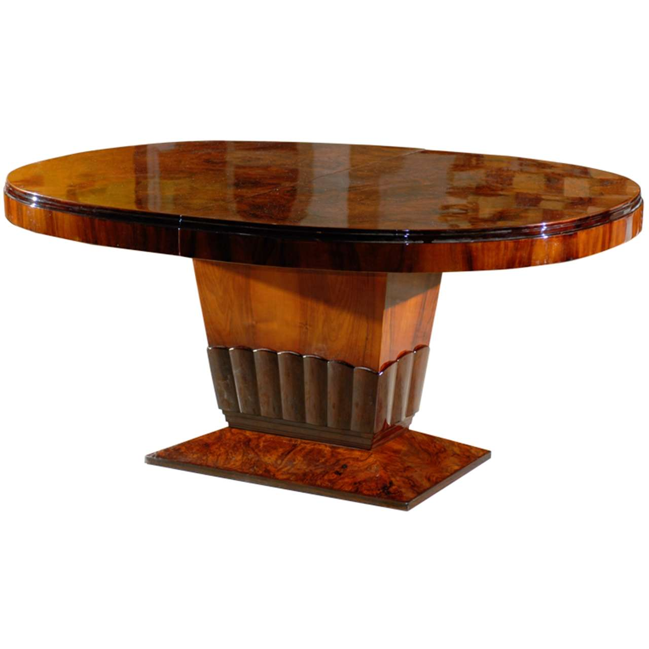Oval dining table pedestal base - Art Deco Oval Dining Table With Tulip Base 1