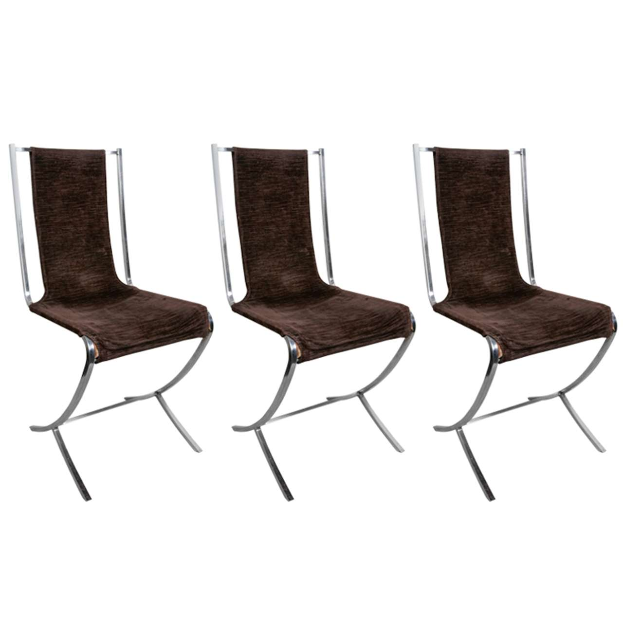 Ten Chromed Steel Chairs By Maison Jansen 1970s For Sale