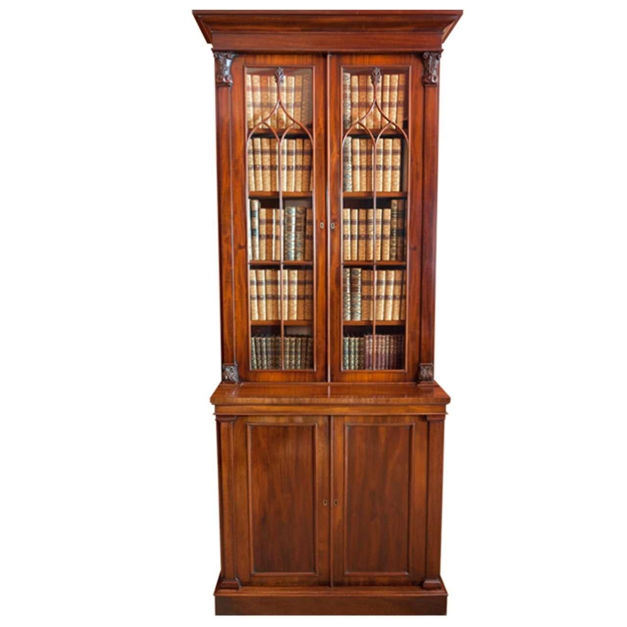 A fine William IV period tall mahogany and glazed door Bookcase