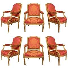 Gorgeous Set Of 6 Gilded Wood Armchairs