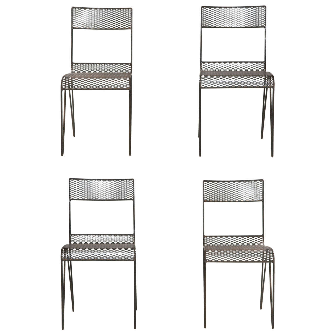 Set Of Eight French Mesh Metal Chairs Early 1900u0027s (reduced From $3,200)  For Sale