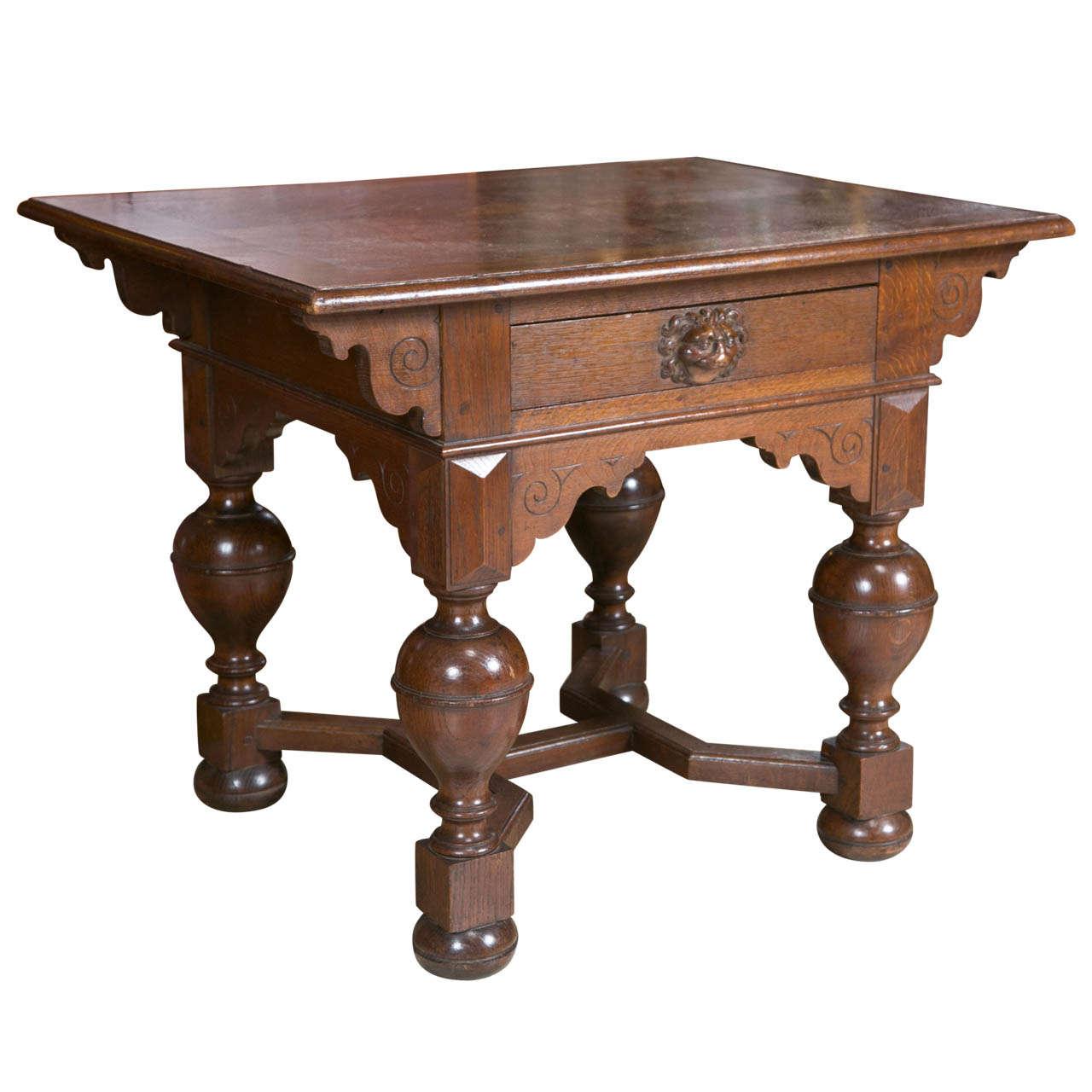 Oak Jacobean Hall Table W Single Drawer For
