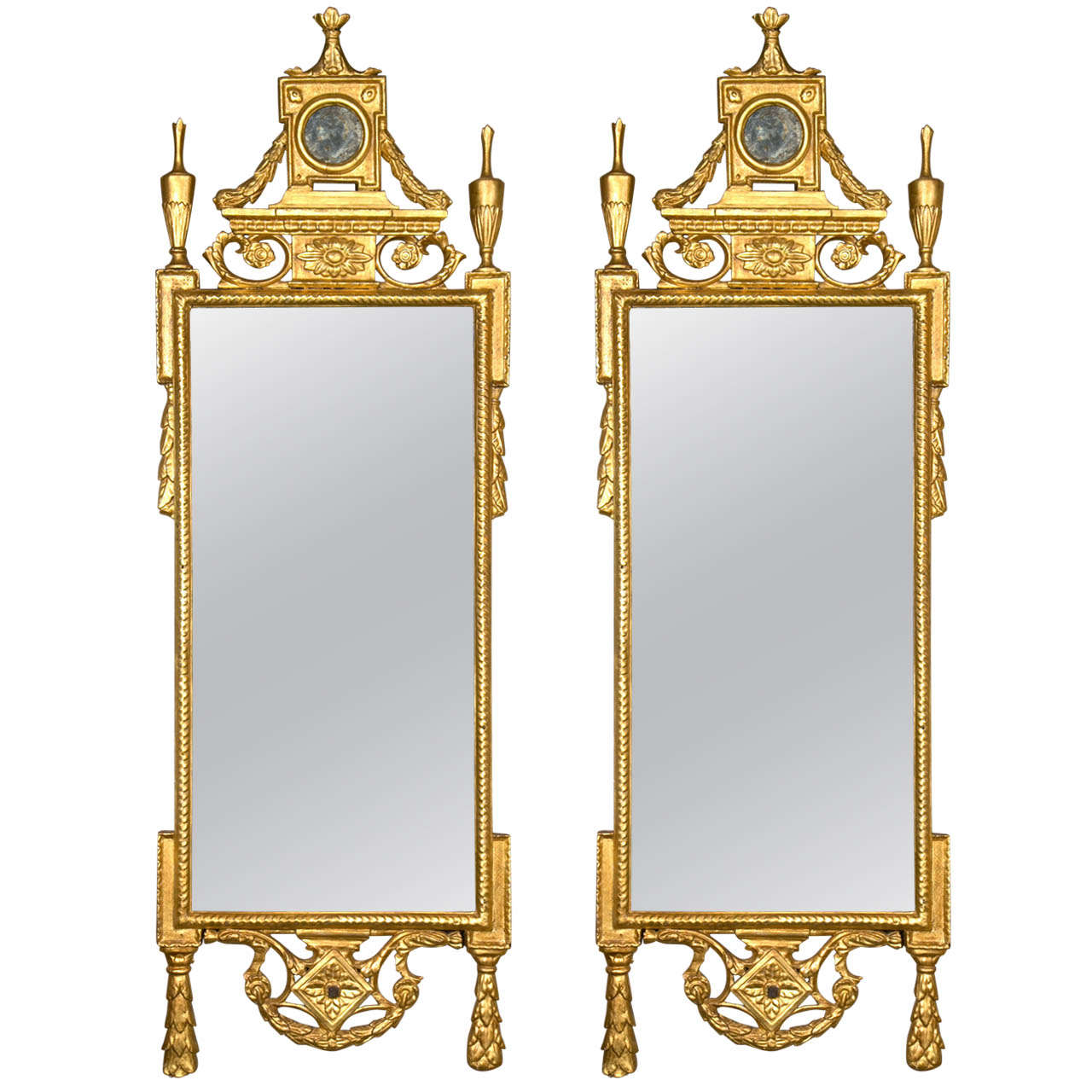 18th Century Pair of Water Gilt and Carved Mirrors