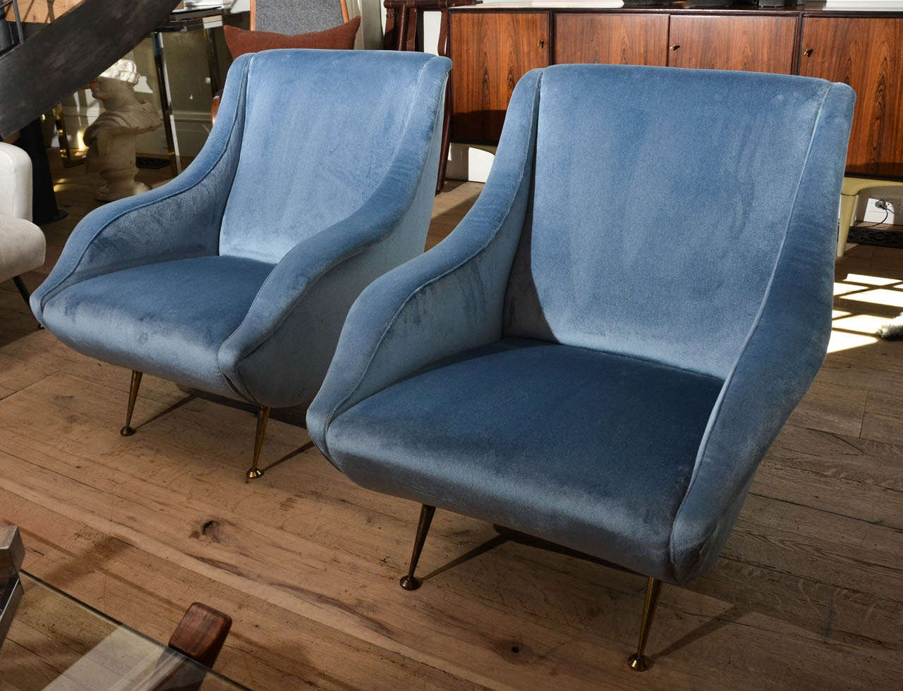 Stunning Mid Century Armchairs In The Style Of Gio Ponti Newly Re Upholstered
