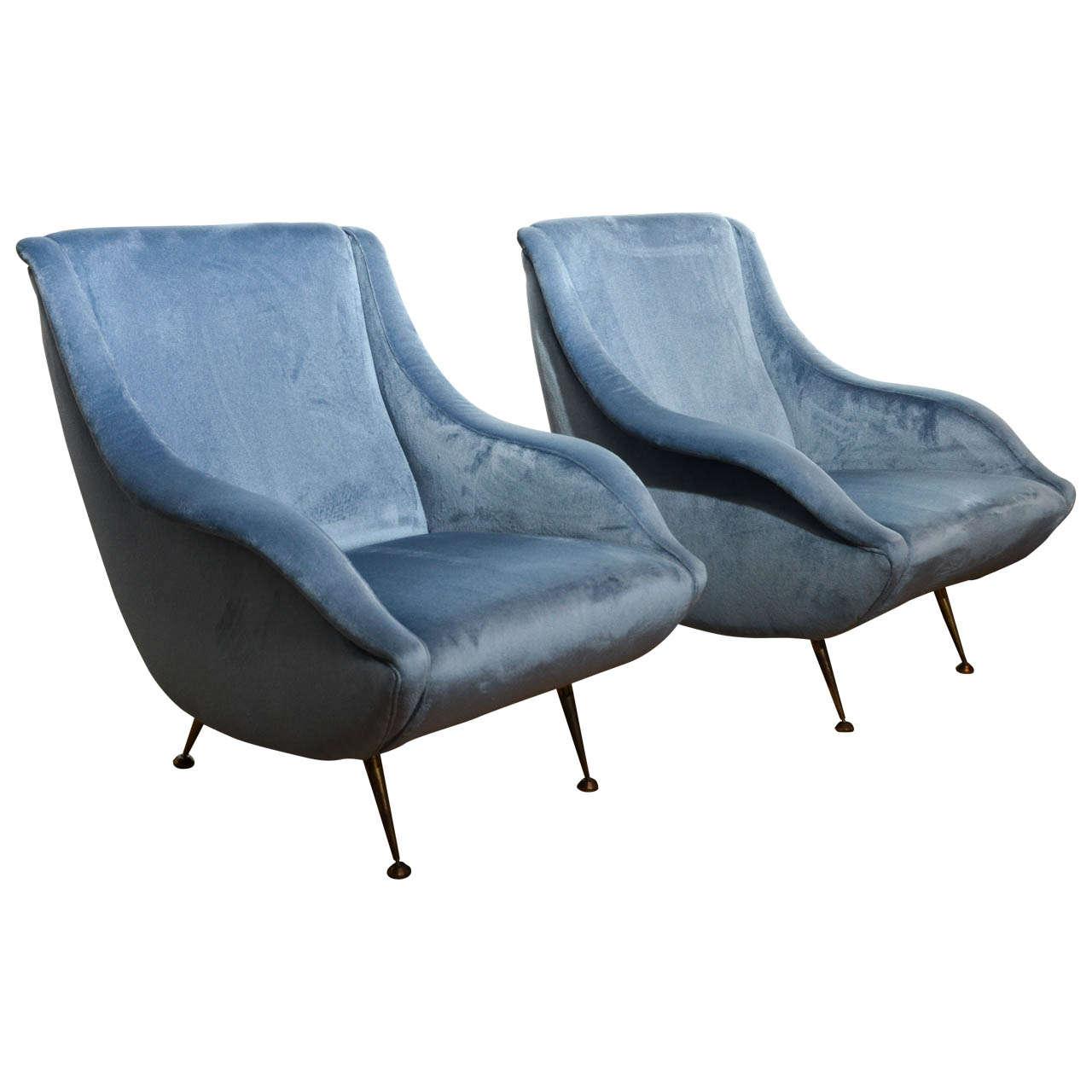 Italian Mid Century Sky Blue Velvet Armchairs In The Style