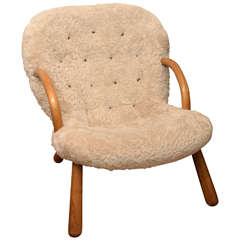 """"""" Clam Chair"""" by Philipp Arctander, 1944, in Shearling and Oak"""