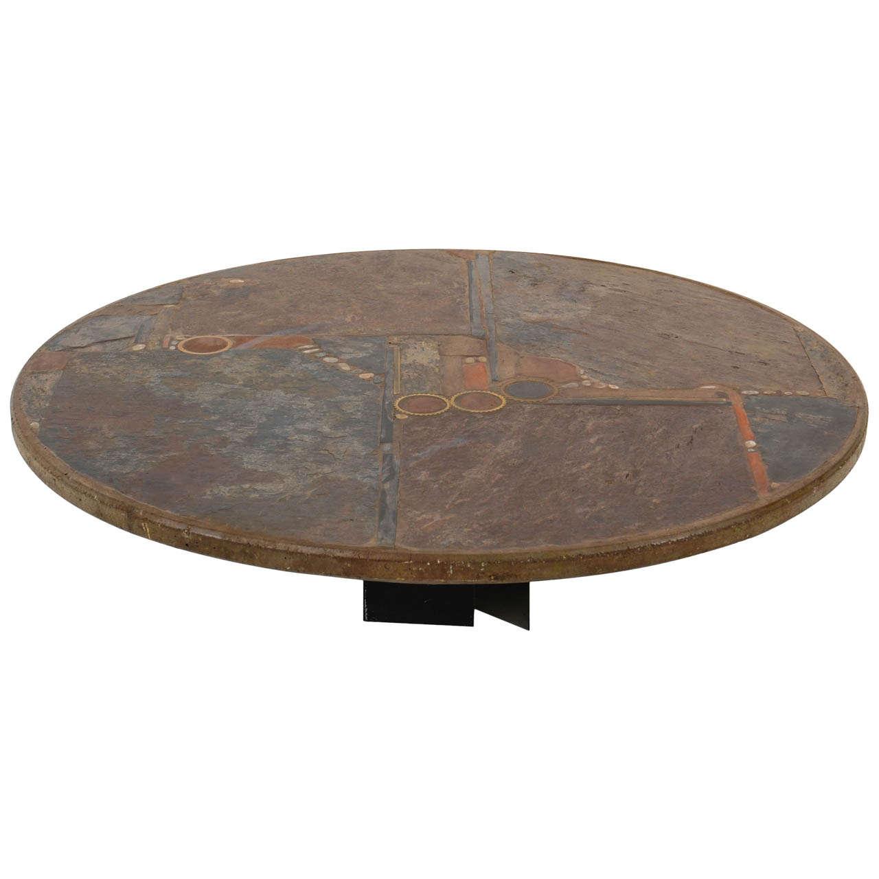 Large Signed Paul Kingma 1984 Slate Stone Round Coffeetable At 1stdibs