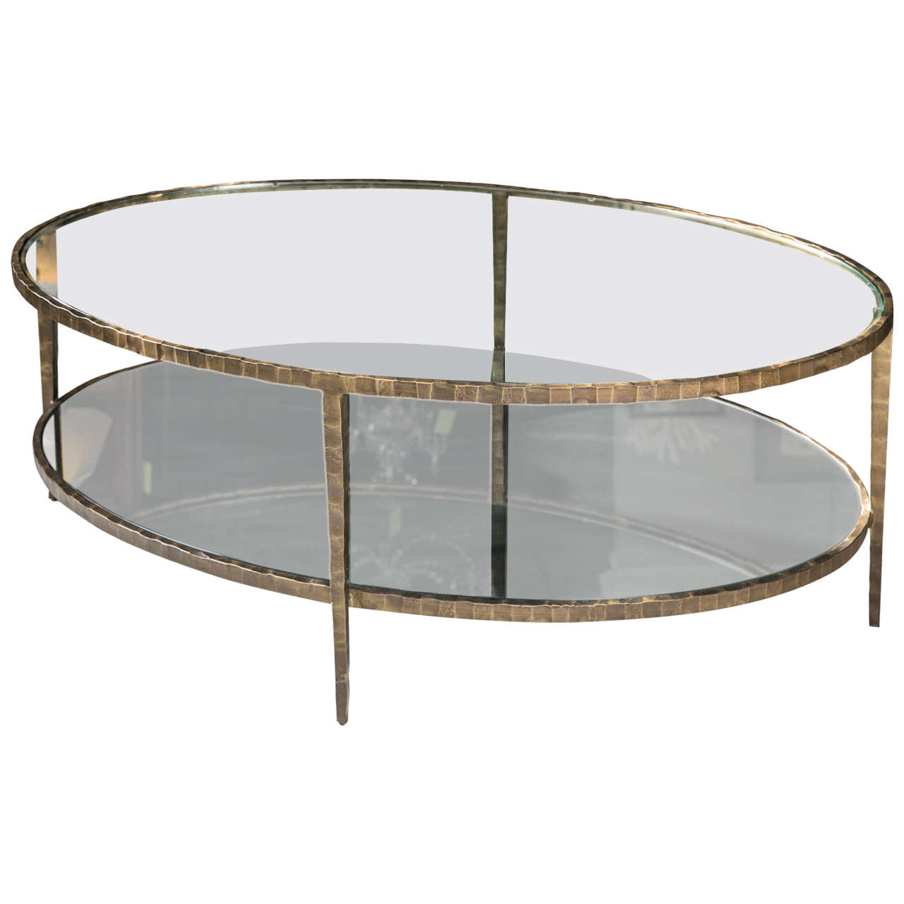 Steel and glass coffee table at 1stdibs Steel and glass coffee table