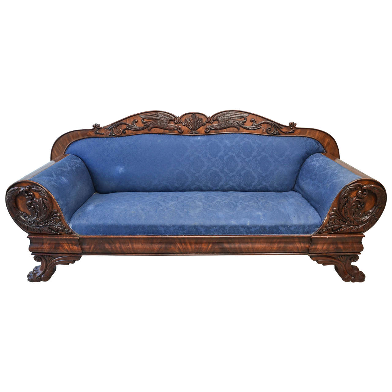 Neoclassical Style Claw Foot And Eagle Appliqué Sofa For