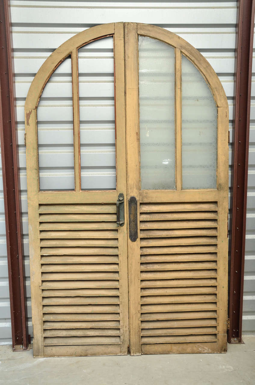 English Victorian Arched Double Doors With Glass And Louvered Panels