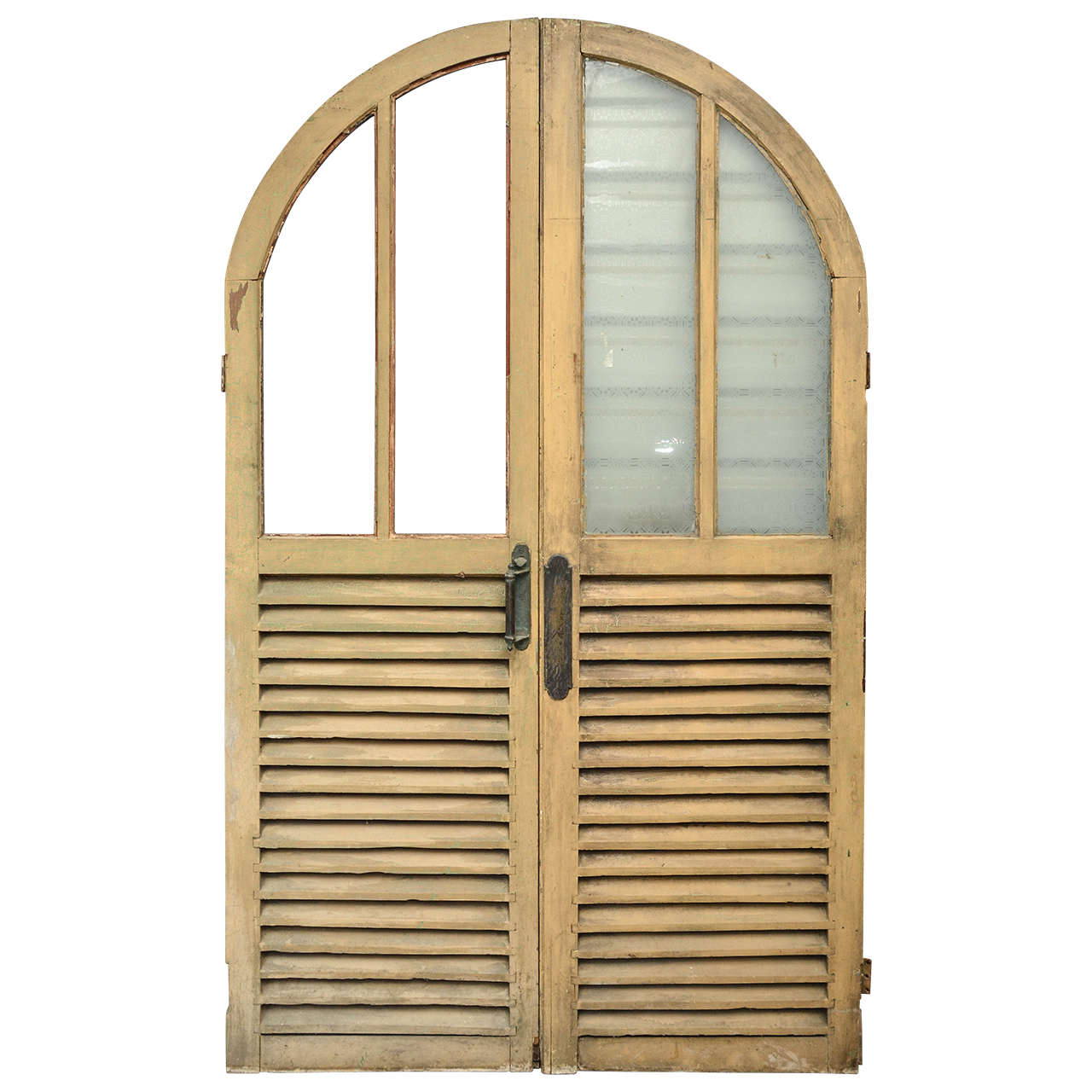 English Victorian Arched Double Doors With Glass And Louvered Panels At 1stdibs