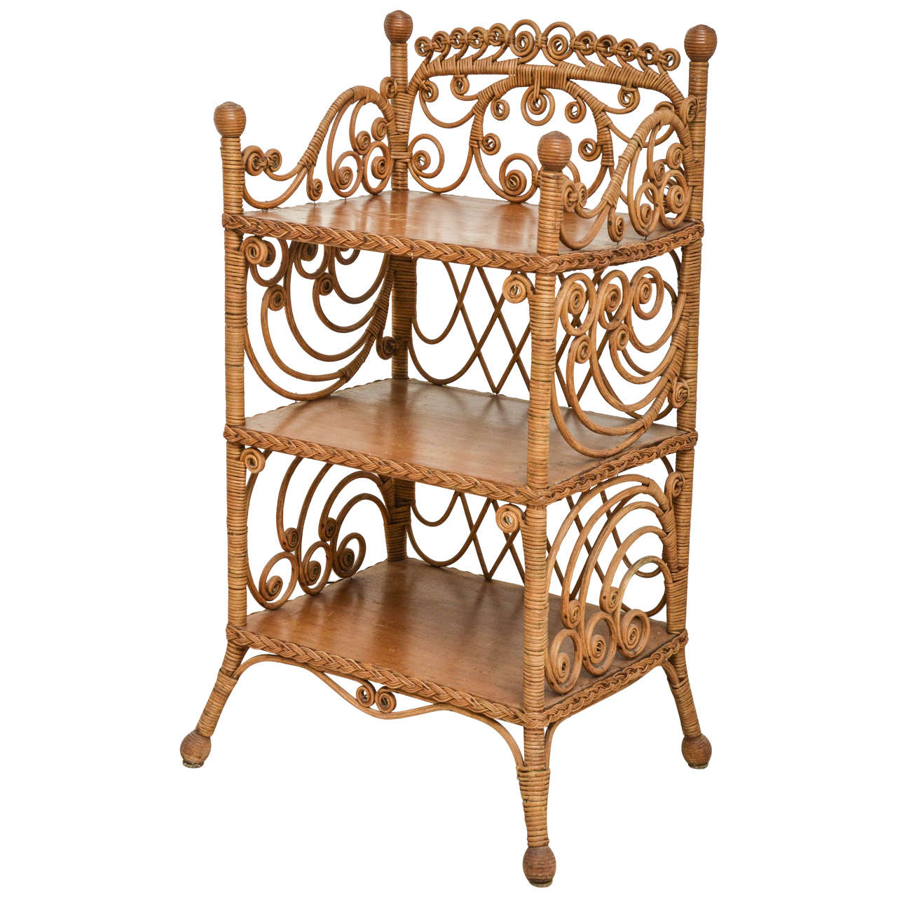 victorian wicker etagere for sale at 1stdibs. Black Bedroom Furniture Sets. Home Design Ideas