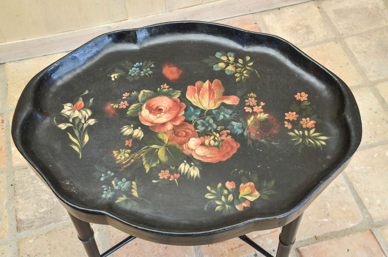 19th Century Victorian Black Papier Mâché Tray Table For Sale