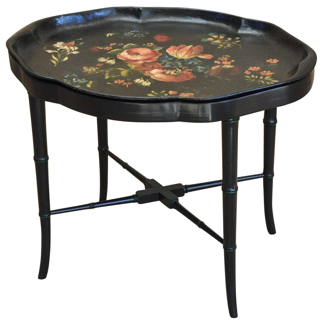 Victorian Black Papier Mâché Tray Table For Sale