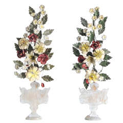 19th Century Pair of Wood Italian Palms with Floral Pattern