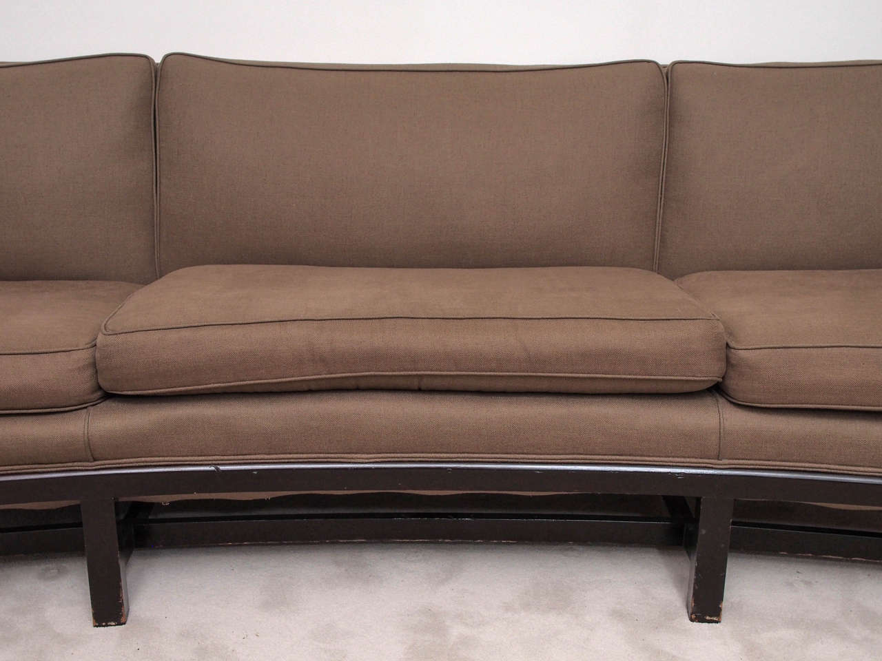 Saturday sale mid modern sofa with curved back at 1stdibs Curved loveseat sofa