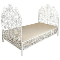 Vintage Iron Daybed with Highly Decorative Metal Work and White Lacquer Finish