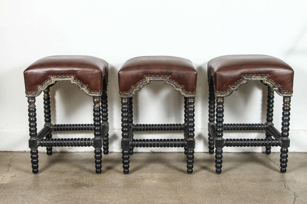 spanish style bar stools set of three at 1stdibs. Black Bedroom Furniture Sets. Home Design Ideas