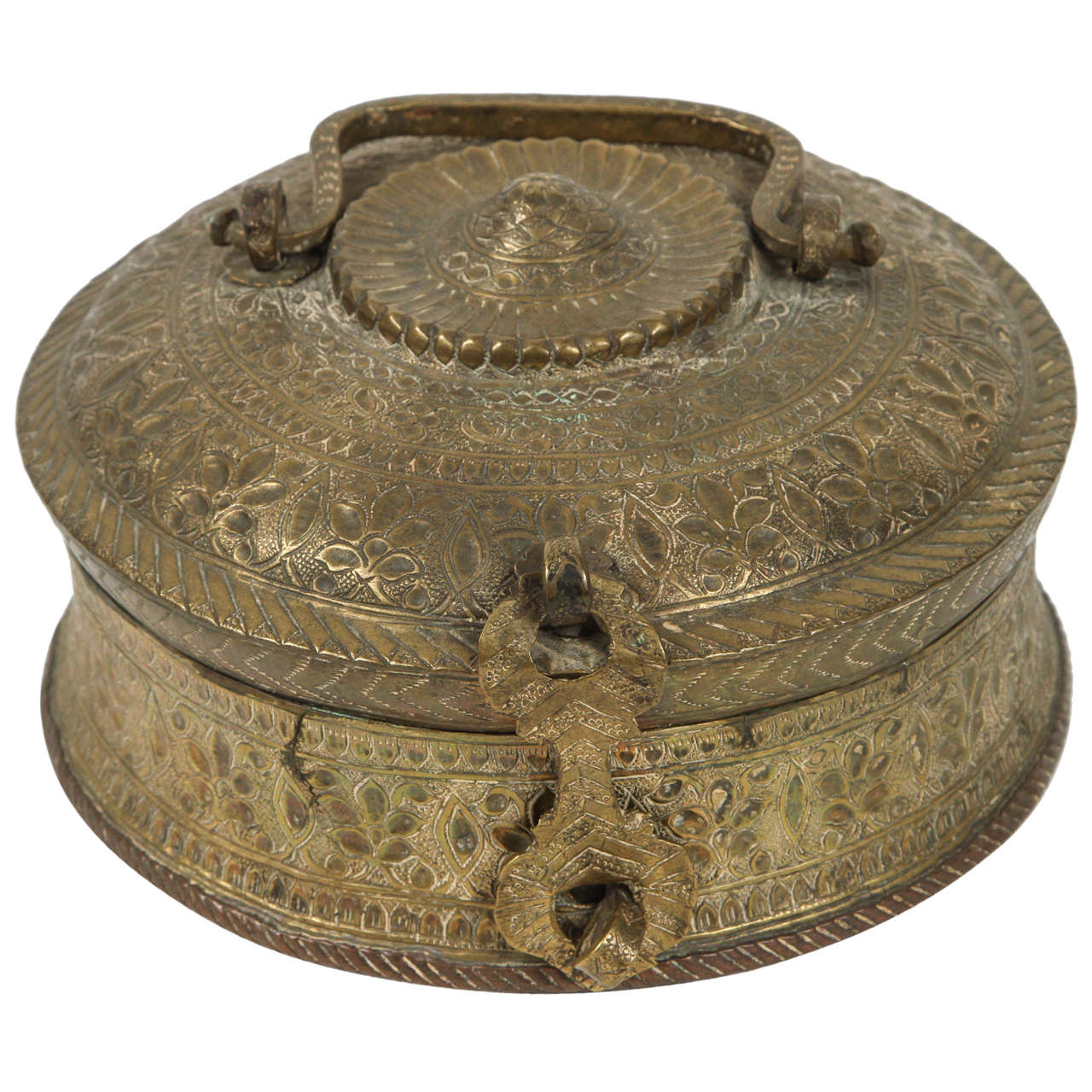 Round Decorative Boxes: Turkish Brass Box With Lid For Sale At 1stdibs