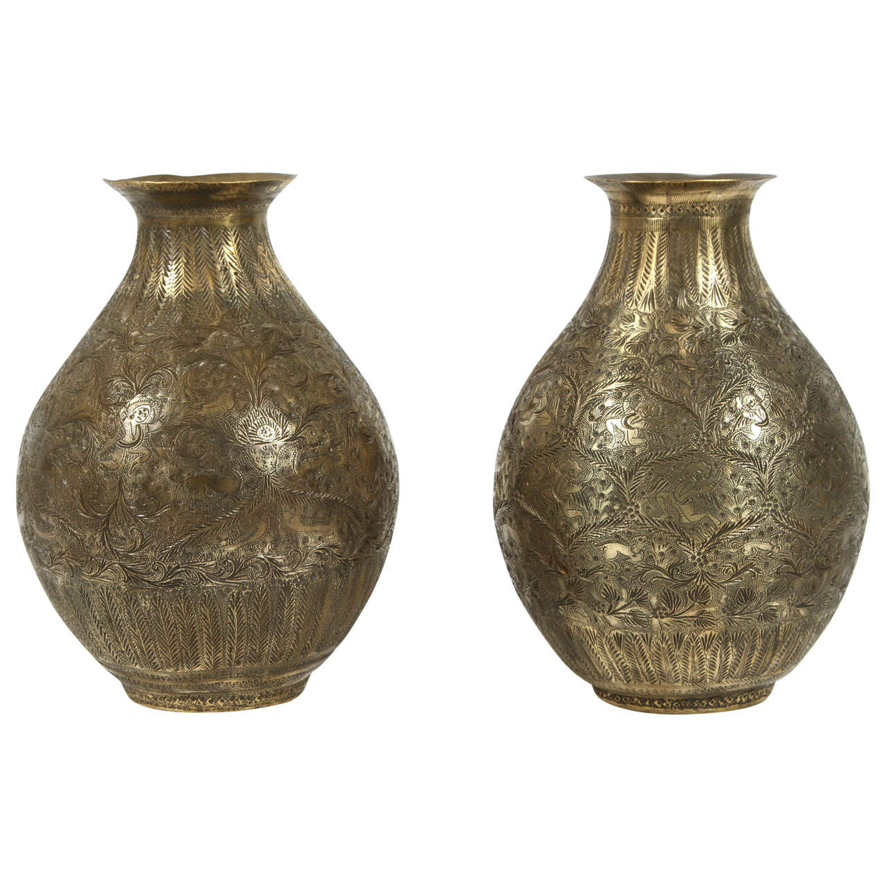 Pair of indo persian brass vases at 1stdibs pair of indo persian brass vases for sale reviewsmspy