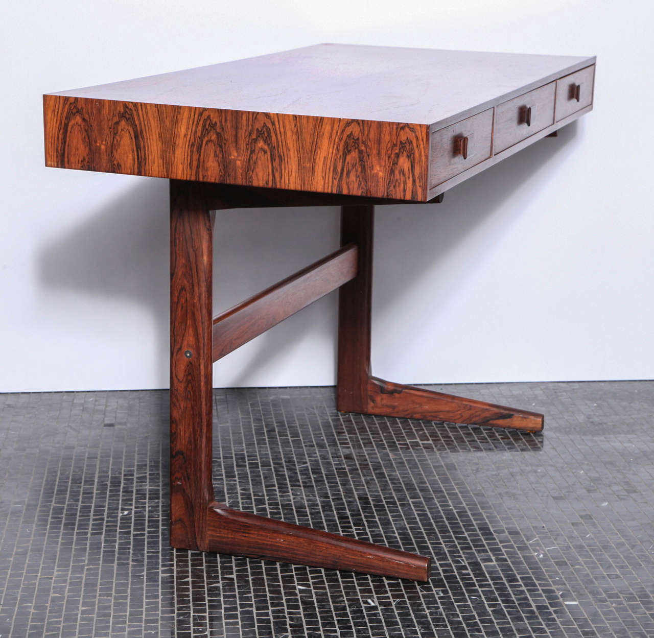 small scaled rosewood desk with three pencil drawers by georg petersens at 1stdibs. Black Bedroom Furniture Sets. Home Design Ideas