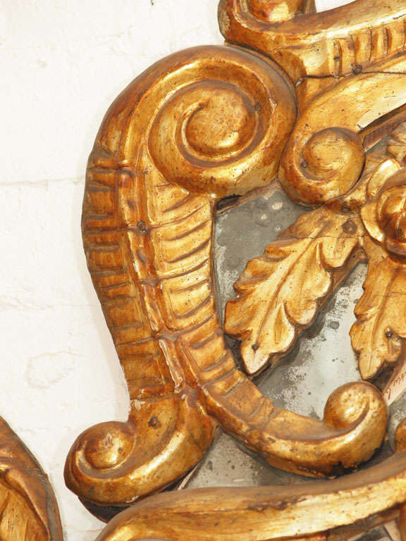 Carved Itlain Louis XIV Gilt Mirror For Sale