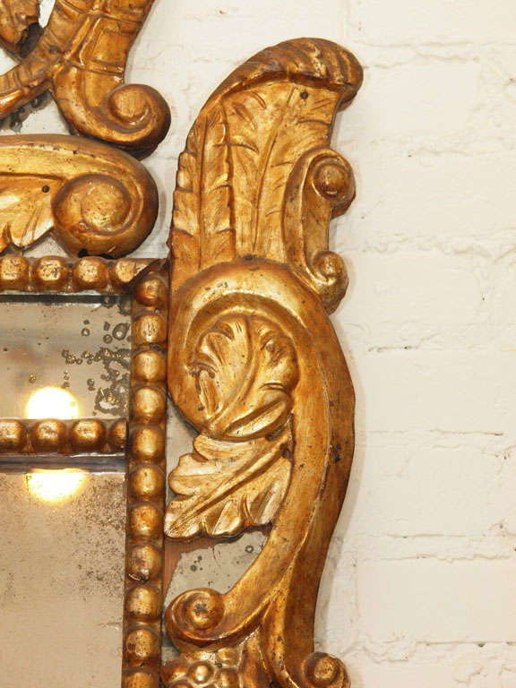18th Century and Earlier Itlain Louis XIV Gilt Mirror For Sale