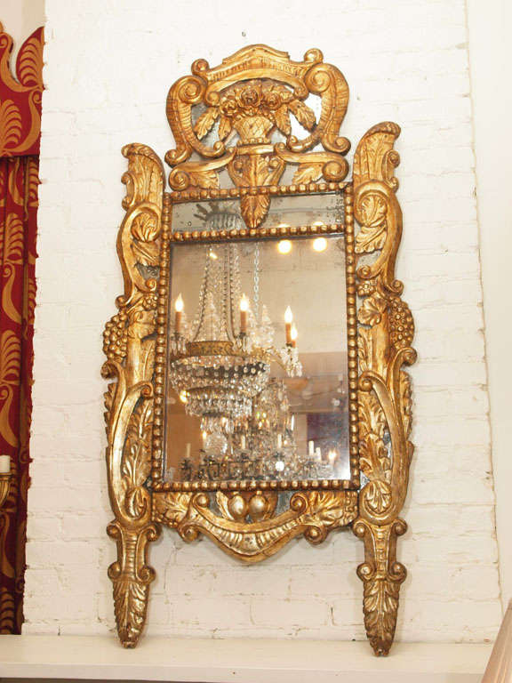 Period Louis XIV Mirror with original plate
