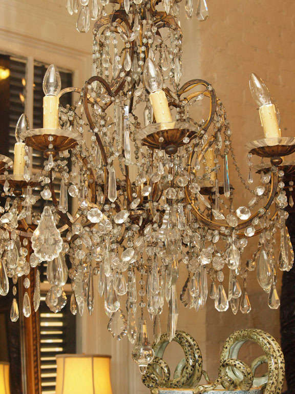 Italian 18th c gilt iron and crystal corona chandelier for sale at italian 18th c gilt iron and crystal corona chandelier for sale 7 mozeypictures Images
