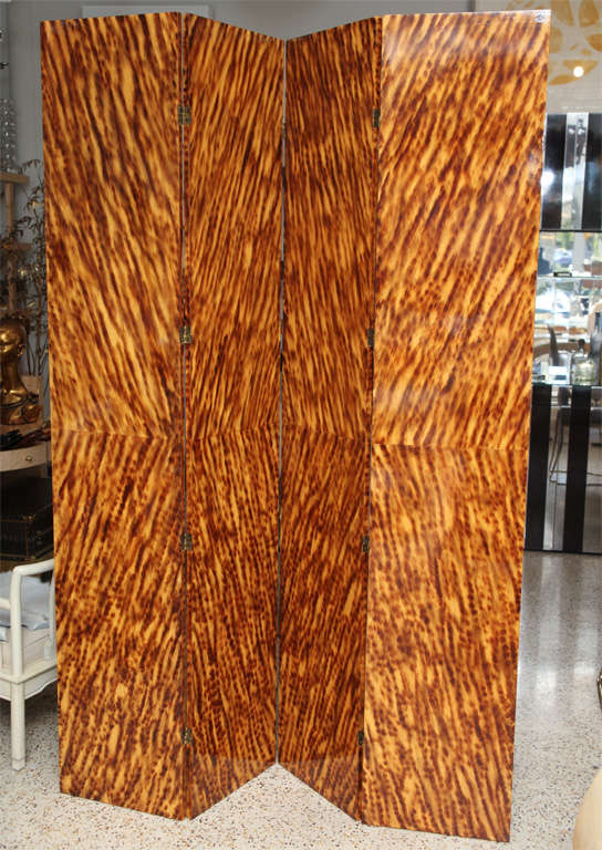 Faux Tortoiseshell Double-Sided Screen/ Room Divider For Sale 3