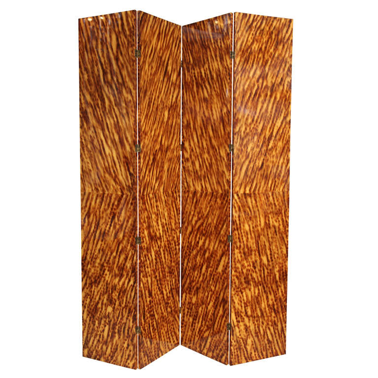 Faux Tortoiseshell Double-Sided Screen/ Room Divider For Sale