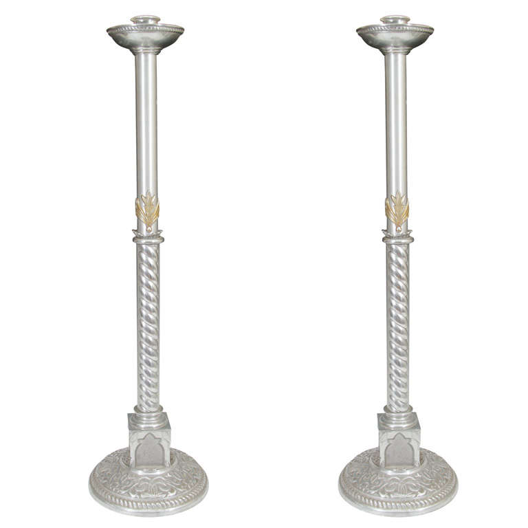 Pair of Elaborate Pewter Standing Candle Holders