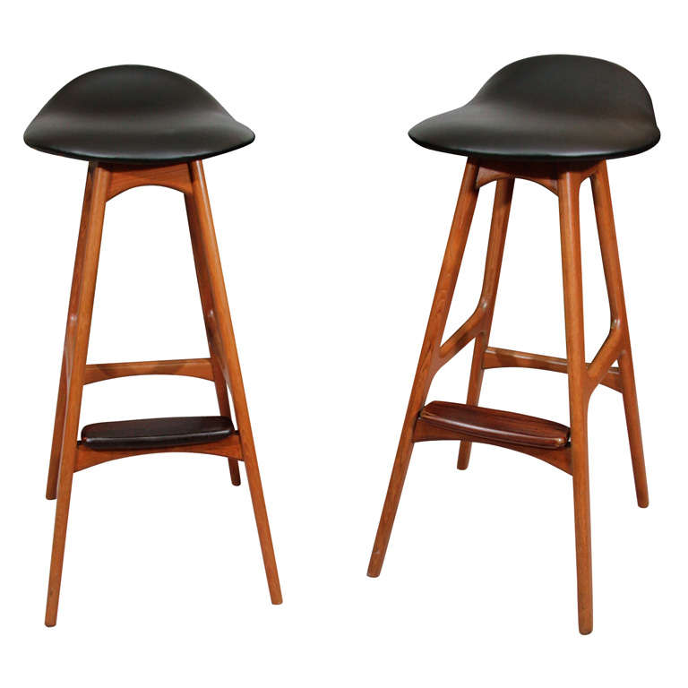 Pair of Mid Century Danish Modern Stools by Erik Buck 1