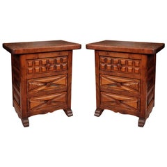 Antique French or French American Vernacular Carved Nightstands