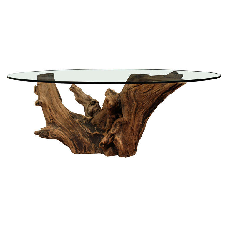 Mid Century Stump Cocktail Table with Oval Glass Top at 1stdibs