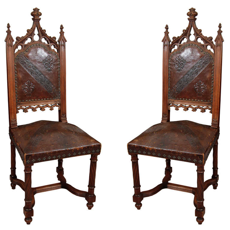 Pair of 19th Century Gothic Revival Side Chairs For Sale