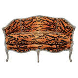 Vintage Louis XV Style Settee In Velvet Tiger Upholstery