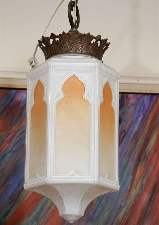 art deco arabesque milk glass lantern pendant at 1stdibs. Black Bedroom Furniture Sets. Home Design Ideas