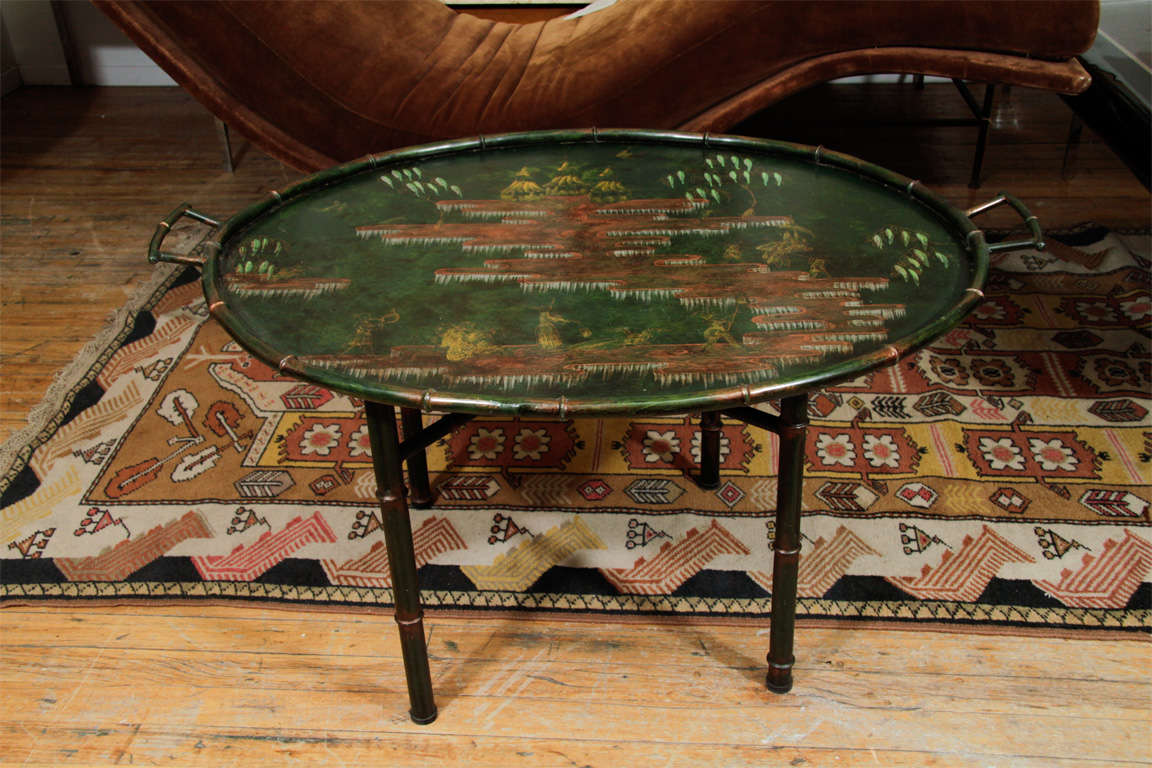 Asian Inspired Painted Metal Tray Table At 1stdibs