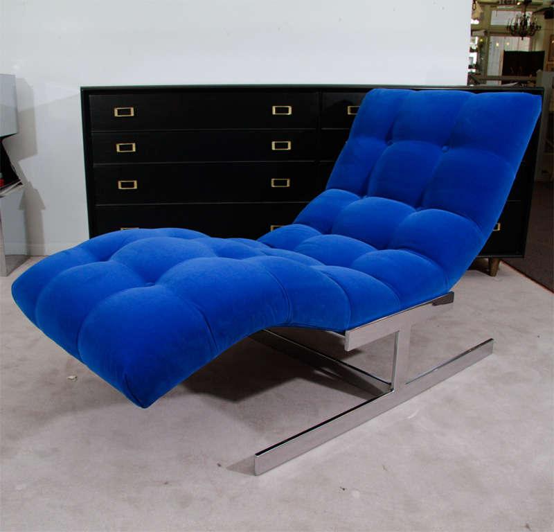 """Mid Century Cobalt Blue Velvet Milo Baughman """"Wave"""" Chaise image 2"""