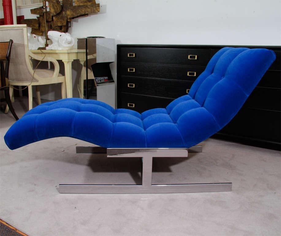 """Mid Century Cobalt Blue Velvet Milo Baughman """"Wave"""" Chaise image 3"""