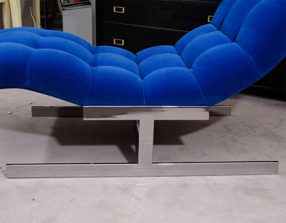 """Mid Century Cobalt Blue Velvet Milo Baughman """"Wave"""" Chaise image 4"""