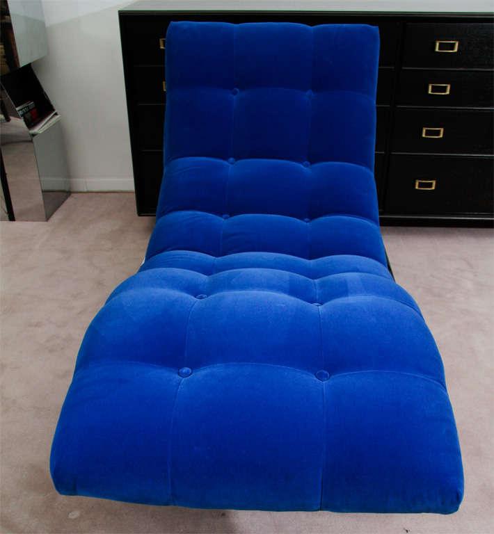 """Mid Century Cobalt Blue Velvet Milo Baughman """"Wave"""" Chaise image 5"""