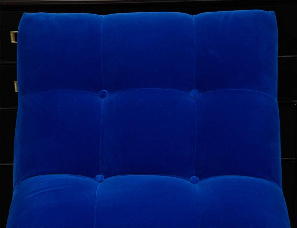 """Mid Century Cobalt Blue Velvet Milo Baughman """"Wave"""" Chaise image 6"""