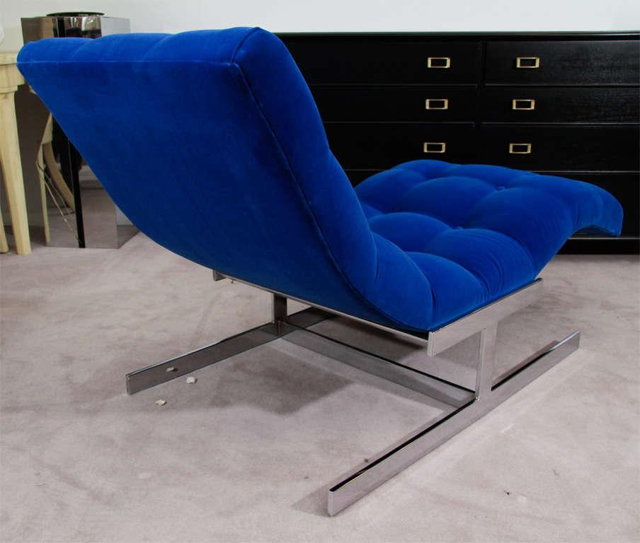 """Mid Century Cobalt Blue Velvet Milo Baughman """"Wave"""" Chaise image 7"""