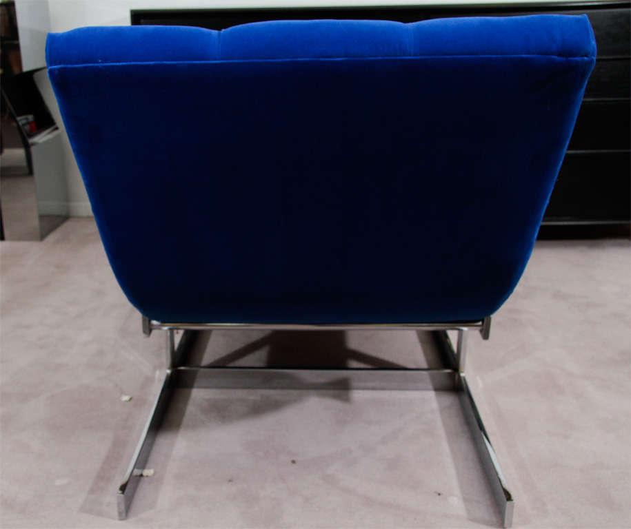 """Mid Century Cobalt Blue Velvet Milo Baughman """"Wave"""" Chaise image 8"""